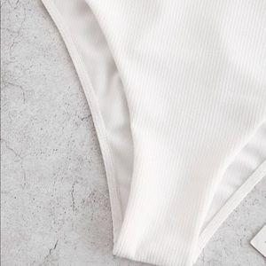 Zaful Swim - White Ribbed Backless Cami Swimsuit